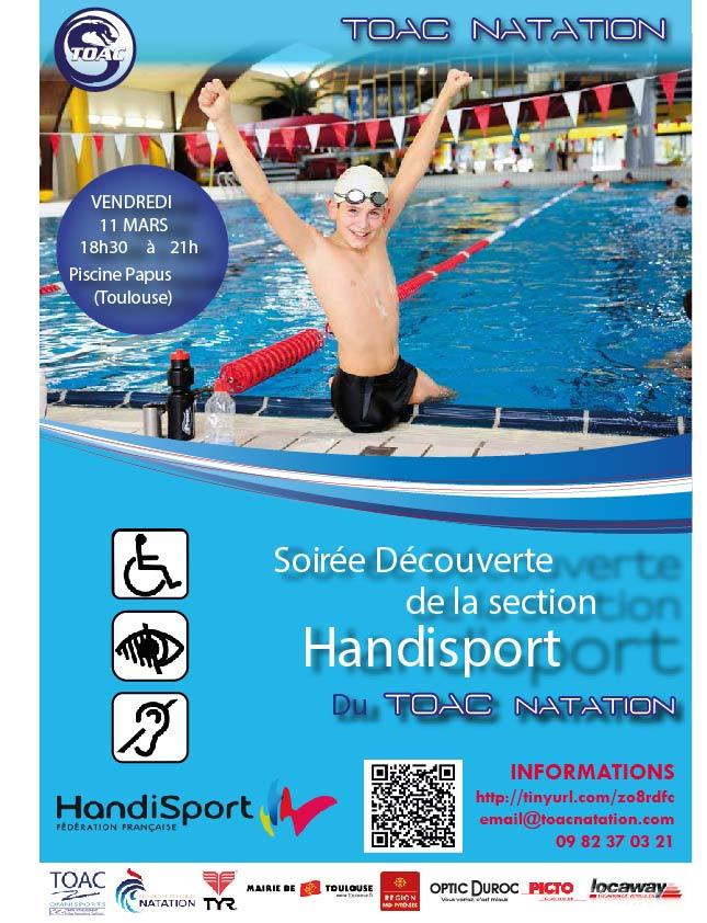 Soir e d couverte de la natation handisport toac natation for Club piscine flyer